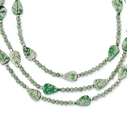 7.5mm Ster. Silver Hematite Green Quartz Tree Agate Leaves 3-strand W2inch Ext. Necklace - 18 Inch