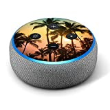Palm Tree Sunset - Vinyl Decal Skin Compatible with Amazon Echo Dot 3rd Generation Alexa - Decorations for Your Smart Home Speakers, Great Accessories Gift for mom, dad, Birthday, Kids