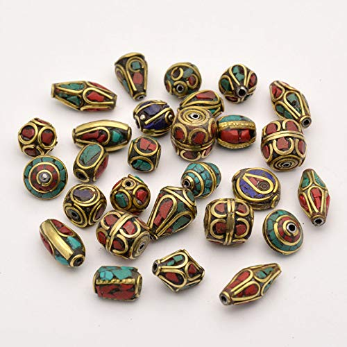 Craftdady 50PCS Mixed Handmade Tibetan Style Beads Antique Golden Coral Turquoise Drop Pendants Jewelry Making ()
