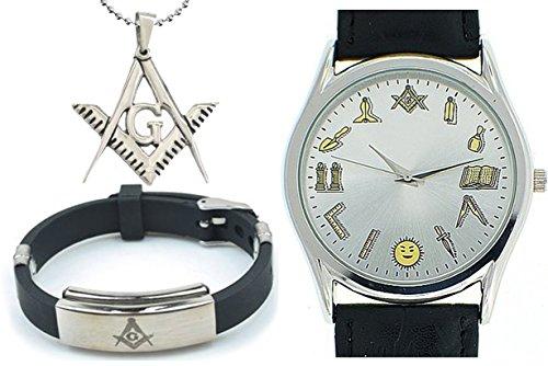 3 Piece Jewelry Set - Freemason Pendant, - Tone Round Faced Watch Shopping Results