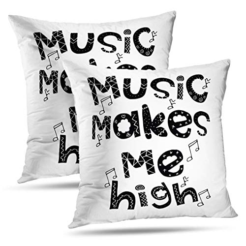 (Alricc Set of 2 Music High Inspirational Fashion Greeting Festival Banners Art Banner Decorative Throw Pillows Cushion Cover for Bedroom Sofa Living Room 18X18)