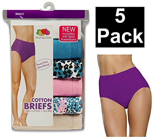 byFruit of the Loom Fruit of The Loom Women's Plus Size Fit For Me Brief Panties (Pack of 5) (Assorted: Mixed & Matched, 100% Cotton, 5X-Large (12))