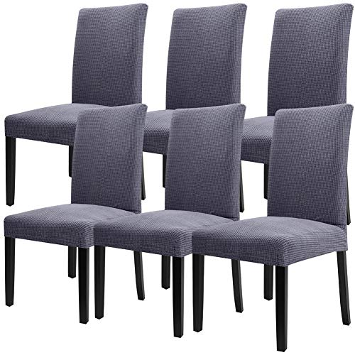 Fuloon Super Fit Stretch Removable Washable Short Dining Chair Protector Cover Seat Slipcover for Hotel,Dining Room,Ceremony,Banquet Wedding Party (6 Per Set, GGB)