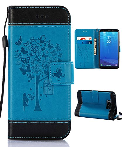 Samsung S8 Plus Case,Galaxy S8 Plus Wallet Case, FLYEE Flip Case Wallet Leather [kickstand] Emboss Butterfly Tree Folio Magnetic Protective Cover with Card Slots for Samsung Galaxy S8 Plus Blue