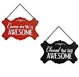 Nikky Home Metal Open and Closed Double-Sided Business Store Signs, 10.94 x 0.19 x 6.93-in Red and Black