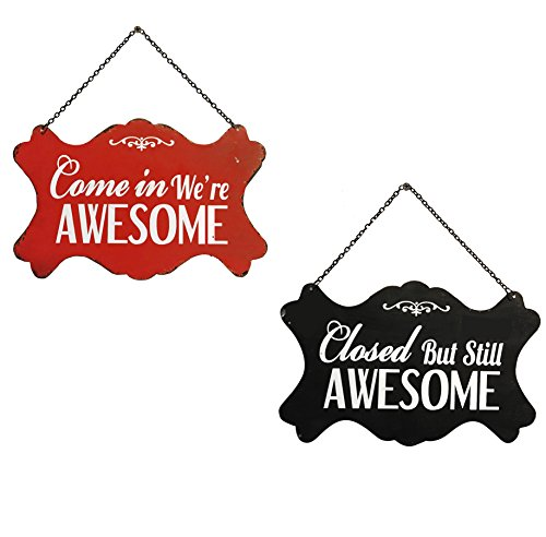 (Nikky Home Metal Open and Closed Double-Sided Business Store Signs, 10.94 x 0.19 x 6.93-in Red and)
