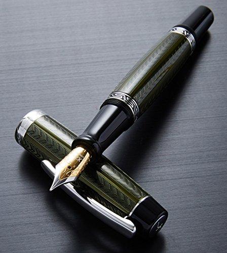 Diamond Watch Pilot - Xezo Maestro Diamond Cut, Lacquered, Handcrafted Platinum Plated Fine Fountain Pen, (Maestro LG Moldavite F)