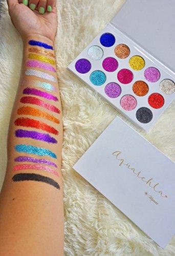 Pressed Glitter Eyeshadow Palette 15 Gel Rainbow Colors Highly Pigmented by Mynena (Image #3)