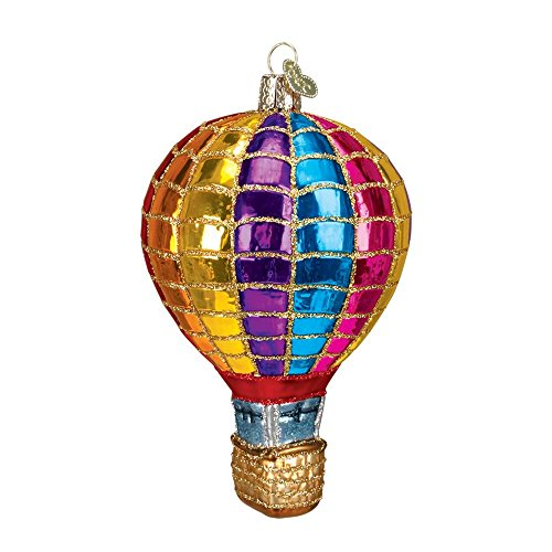 Hot Air Balloon Blown Glass Christmas Ornament by Old World Christmas-Rainbow Colors