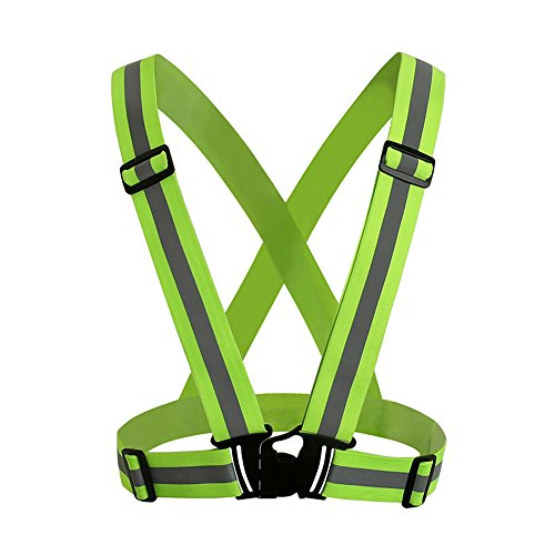 Safety Security High Visibility Reflective Vest Gear Stripes Jacket Fluorescent green