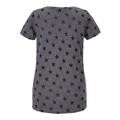 ROCKGEWITTER Damen T-Shirt anthrazit Star Pailletten Stern, Größe M
