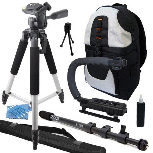 "Professional 57"" Tripod + Dolica WT-1003 67-Inch Lightweight Monopod + Camera Camcorder Action Stabilizing Handle + Deluxe Backpack Travel Vacation Kit for Panasonic HC-V720 HC-V520 HC-X920 HC-V110 HC-V100M HC-V500M HC-V201 HC-V550 HC-V130 HC-V250 HC-V7"