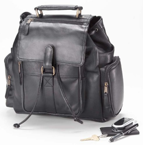 (Clava Urban Survival Leather Laptop Backpack, Computer Bag in Black)