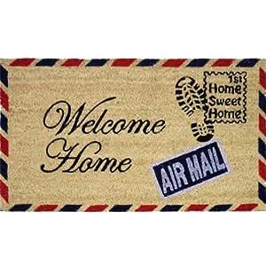 JVL - Felpudo (fibra de coco y PVC, 40 x 70 cm), diseño de carta con texto Welcome Home
