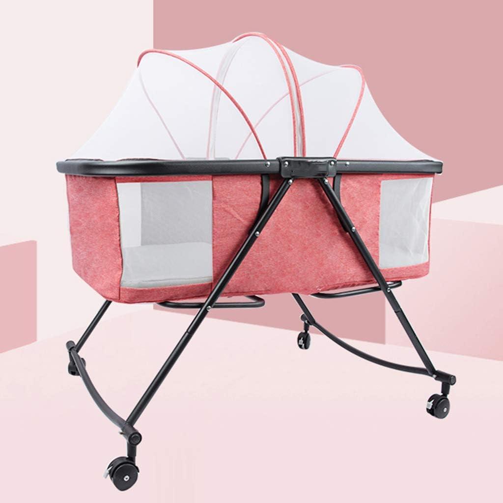 多機能トラベルベッド、折り畳み式のローラークレードルベッドポータブル蚊帳ベビーベッド、ベビーベッドクレードルベビーベッド新生児折りたたみ小型で,ピンク