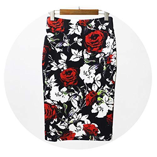 (Summer Style Pencil Skirt Women High Waist Green Skirts Bodycon Floral Print Midi Skirt,17,XXL)