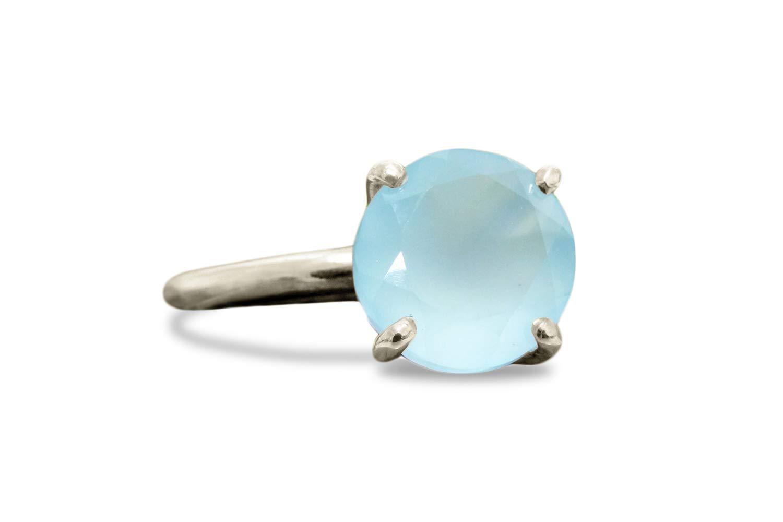 Details about  /Aqua Chalcedony Moonstone Gemstone Dual Ring 925 Silver Handmade Jewelry YG