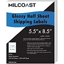 """Half Sheet Shipping Labels Glossy Water Resistant for Laser or InkJet Printer 5-1/2"""" x 8-1/2"""" for UPS, FedEx, USPS, PayPal, FBA"""