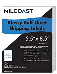 "Milcoast 200 Half Sheet Shipping Labels Glossy Water Resistant for Laser or InkJet Printer 5-1/2"" x 8-1/2"" for UPS, FedEx, USPS, PayPal, FBA"