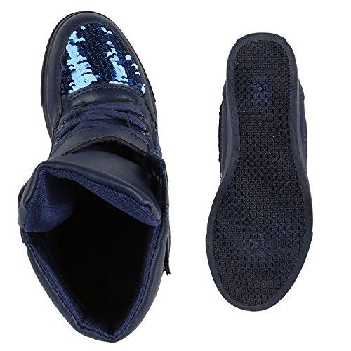 Stiefelparadies Damen Sneakers Keilabsatz Sneaker-Wedges High Top Schuhe Flandell Dunkelblau Pailletten