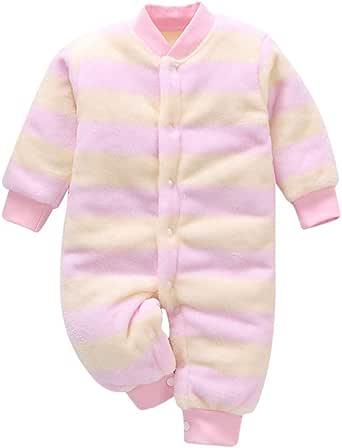 MYONA Mono para Bebé Niño Niña, Recién Nacido Pijama Algodón con Rayas Bebé Mono Mameluco Suave Bodies Bebé Manga Larga Invierno Recién Nacido Pelele Bebé Pijama de Algodón Jumpsuit Unisex 0-2Y: Amazon.es: