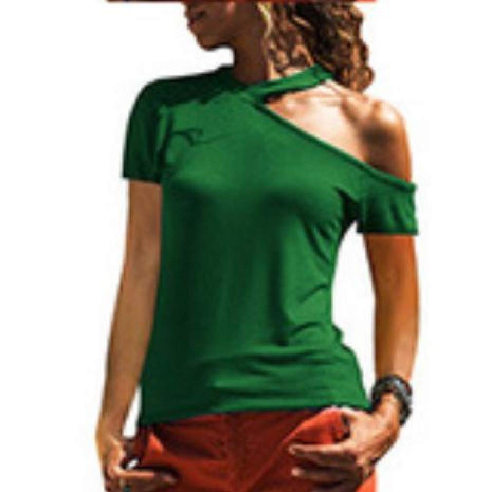 Tralounry Womens Solid Colored Cold Shoulder Short Sleeve Tees Pullover Top