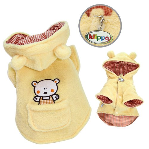 Adorable Plush Dog Hooded Coat with Country Bear and Pocket Size: Medium