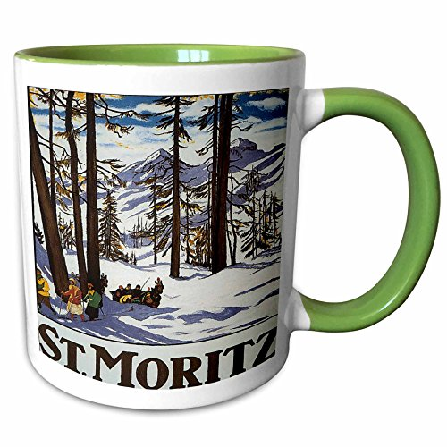 Two Tone Sleigh (3dRose BLN Vintage Travel Posters and Luggage Tags - St. Moritz Winter Scene with People Skiing and Horse Drawn Sleigh - 11oz Two-Tone Green Mug (mug_170744_7))