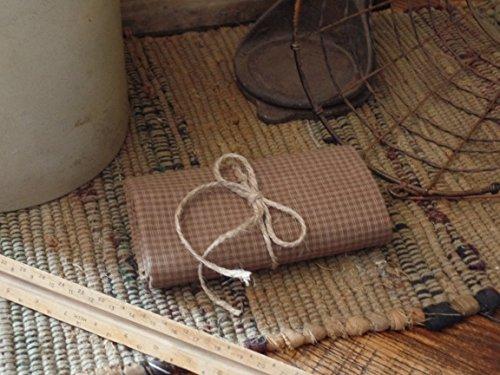 (Homespun Fabric~Mocha Mini Check~Primitives~Country~Folk~One Yard Cut~Prim Hang Tag~)