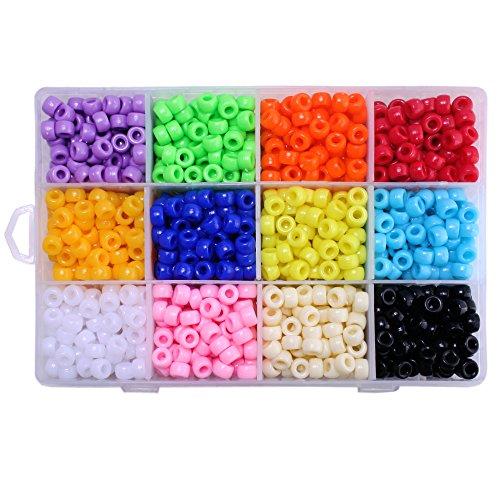 BEADNOVA Bulk Plastic Rainbow Opaque Mix Color Pony Bead Assortment Box Set Value Pack