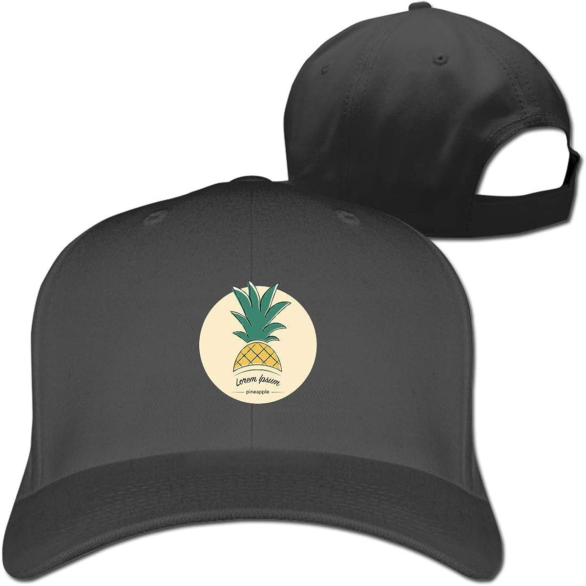 Pineapple Logo Fashion Adjustable Cotton Baseball Caps Trucker Driver Hat Outdoor Cap Black