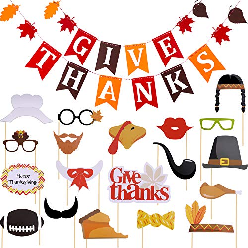 Boao Thanksgiving Non-Woven Banner Give Thanks Bunting Banner and 20 Pieces Photo Booth Props for Thanksgiving Home Party Decoration