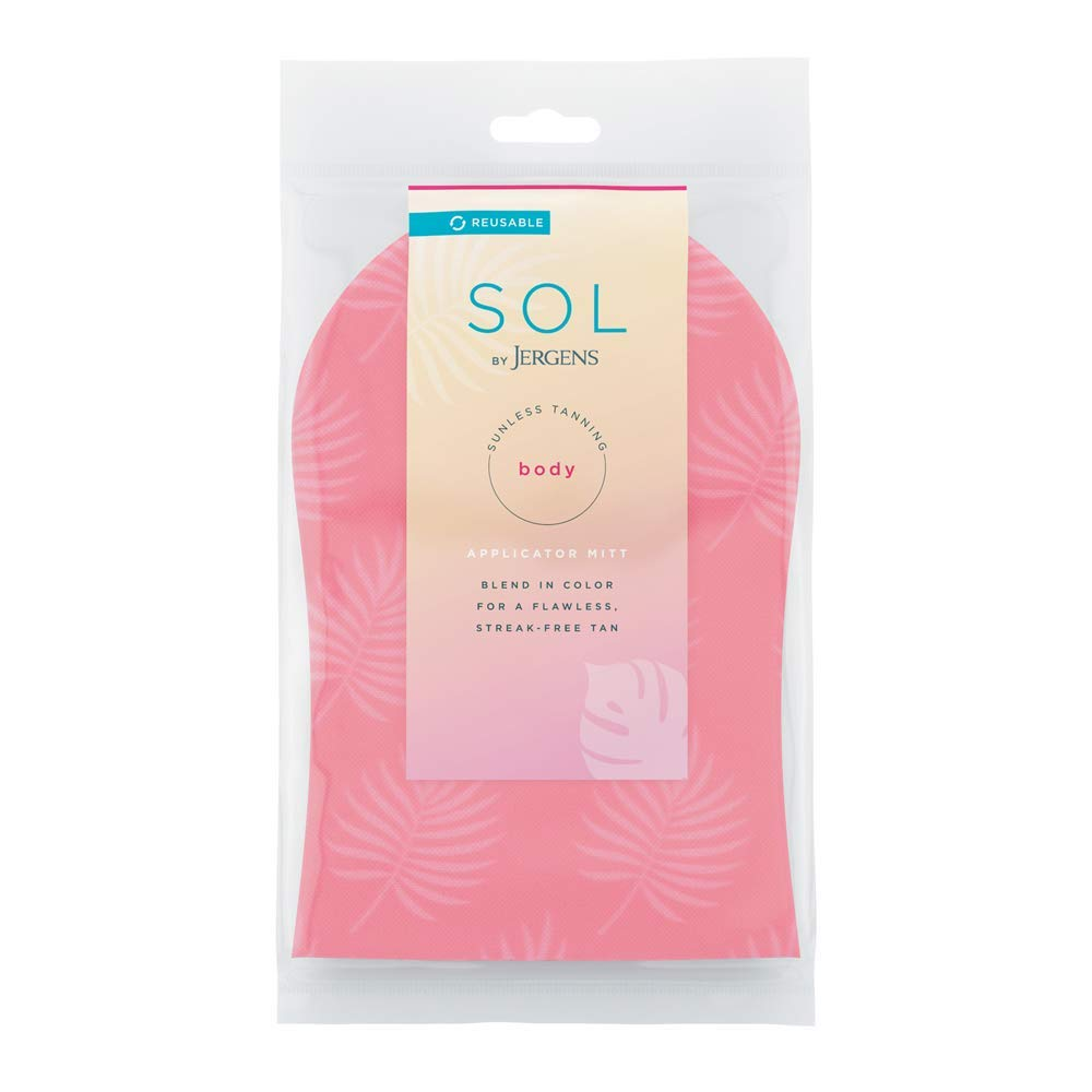 SOL by Jergens Self-Tanner Applicator Mitt, Flawless, Streak-free Tanning Blender Glove, Reusable Tanning Mitt Protects Hands
