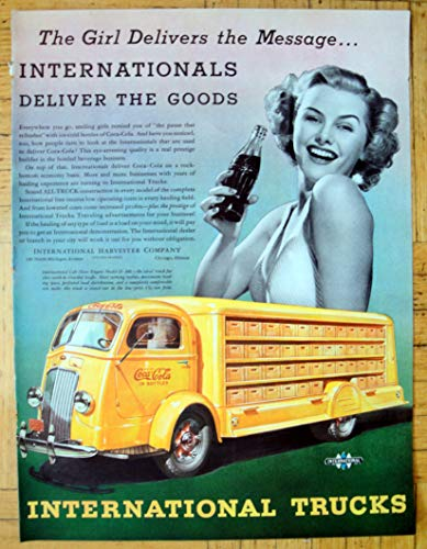 1938 International Harvester Model COE Truck Coke Deliver Original 13.5 * 10.5 Magazine Ad