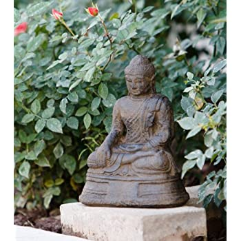 Amazon.com: Small Volcanic Sitting Buddha Statue, Buddha Decorative ...