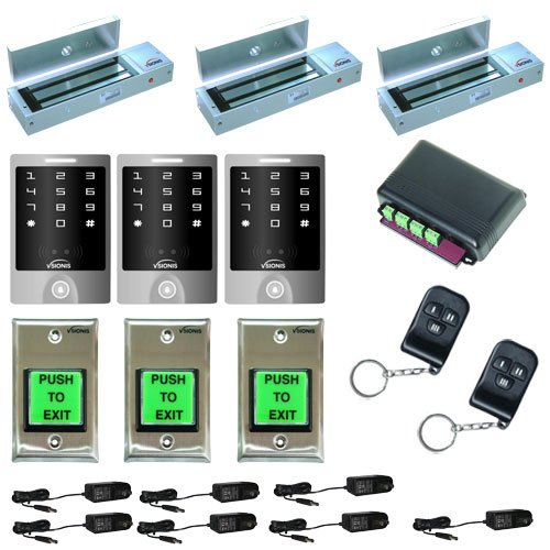 FPC-5171-Three-door-Access-Control-outswinging-door-1200lbs-Electromagnetic-lock-with-Seco-Larm-Wireless-Remote-and-Vsionis-Outdoor-Keypad-kit