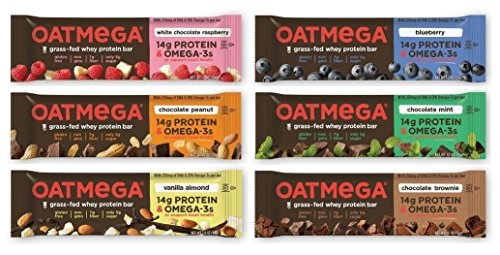 Oatmega Nutrition Bars Variety 6 Pack, 6 Different Flavors, Pack of 6,(1 bar of Each)