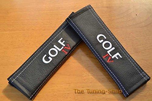 2 x cinturó n de seguridad Cubre Pads de piel color blanco bordado The Tuning-Shop