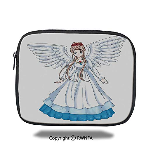 Fashion Protection Bag,Cartoon Illustration of Cute Angel Wings and Flowers Fairytale Japanese Manga Print,10.8