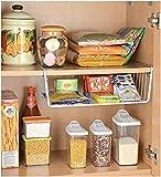 LWVAX® Multifunctional Storage Basket Home and Kitchen Storage Rack Under Cabinet Storage Shelf Basket Wire Rack Organizer Storage Color:-White