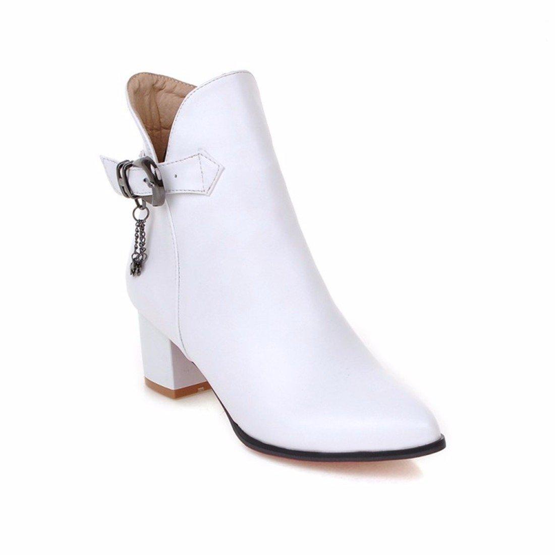 Hebilla del cinturón de dama de otoño, Martin botas, grandes patios, tacones altos, señaló botas,blanca,37 US6.5-7 / EU37 / UK4.5-5 / CN37