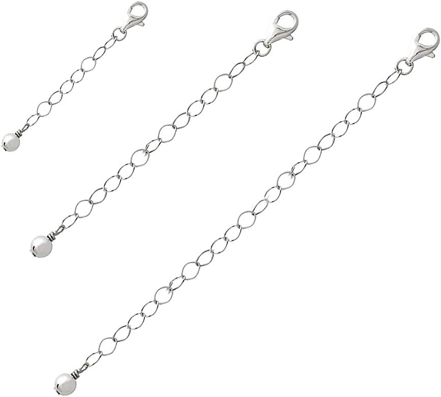 Durable and Adjustable Necklace Bracelet eSILVER Necklace Extender Set uses for Anklet 1 Pendant 925 Sterling Silver 2 and 4 Chains