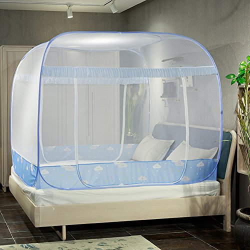 Foldable mosquito-repellent zipper mosquito net, Mongolian Double doors mosquito curtain-A Queen1 by DE&QW