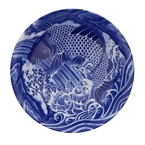 Zen Table Japan Blue and White Serving Bowl Made in Japan - Koi