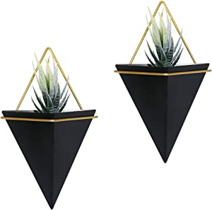 Scwhousi 2 Set Black Metal Hanging Planter Wall Decor Geometric Succulent Planter Indoor