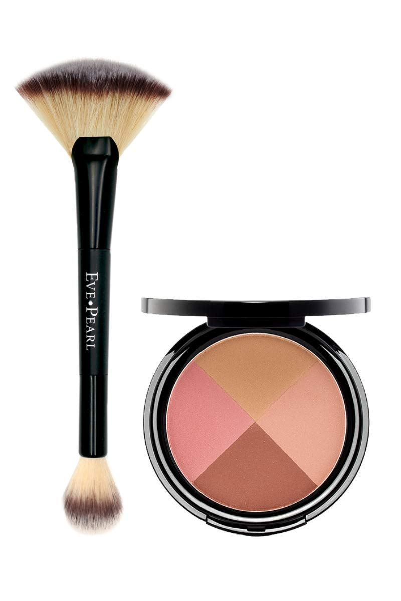EVE PEARL Ultimate Face Compact And 204 Dual Fan Highlighter Brush Blush Bronzer Highlighter Contour Palette Eyeshadow Makeup SetMedium to Deep- Ageless
