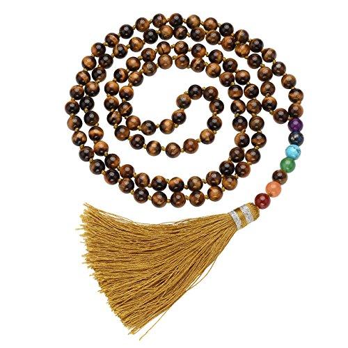 Top Plaza 108 Mala Beads Necklace Beaded Tassel Necklaces 7 Chakra Healing Crystals Gemstone Jewelry for Buddhist Prayer Rosary Meditation(Tiger Eye ()