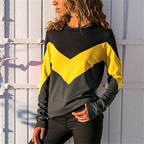 Camicia Calzino Top Casual Vestito A Retro Di t Sport subfamily Lunghe In Tuta shirt Giallo Cavo Moda Alto Stile Lavoro Girocollo Elegante Maniche Contrasto 67zwvq