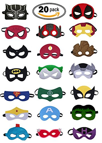 Super Hero Party Mask (Small Squad) - 20 Piece Party Masks for all Children - Perfect for all (Groot Costume For Girls)