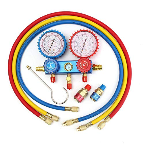 - BAGUIO STORE Auto Manifold Gauge Set A/C R134A Refrigerant Charging Hose with 2 Quick Coupler for R134A Air-conditioning Refrigeration